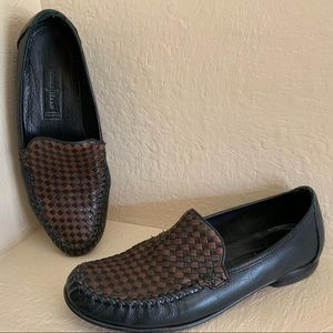 Cole Haan Woven Black Brown Leather Loafer Flats